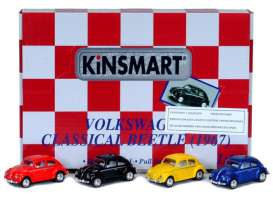 Kinsmart - Volkswagen  - KT2540D~12 : 1967 Volkswagen Beetle in a tray with 12pcs. 3 pcs each colour (red,yellow,blue,black).