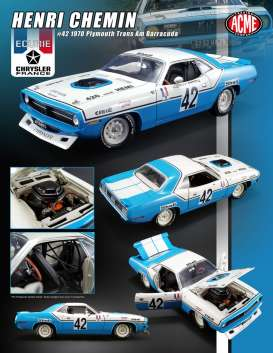 Plymouth  - Trans Am Barracuda #42 1970 blue/white - 1:18 - Acme Diecast - Acme1806102 | The Diecast Company