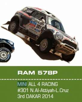 IXO Models - Mini  - ixram578 : 2014 Mini All 4 Racing #301 3rd dakar rally