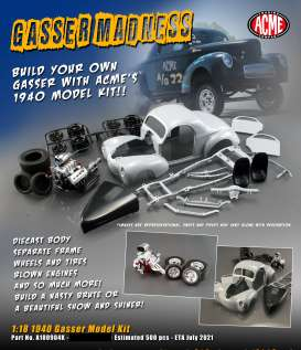Willys  - Gasser metal modelkit 1940  - 1:18 - Acme Diecast - 1800904K - acme1800904K | The Diecast Company