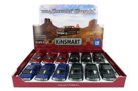Kinsmart - Chevrolet  - KT5381D~12 : 2014 Chevrolet Silverado, Assortment tray of 12 with 4 colours in the tray (black,green,blue & red).