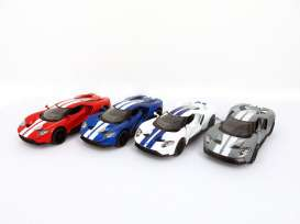 Kinsmart - Ford  - KT5391DF~12 : 2017 Ford GT, Assortment tray of 12 with 4 colours in the tray (red, white, blue, grey).