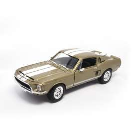 Shelby  - 1968 metallic gold/white stripes - 1:18 - Lucky Diecast - ldc92168gd | The Diecast Company