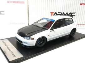 Tarmac - Honda  - Tarmac01wbk : Spoon Honda Civic EG6 Gr.A racing *Resin Series*, white with black bonnet