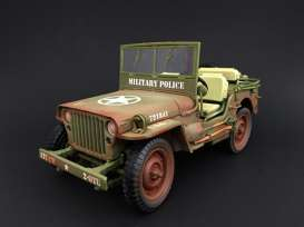 Jeep Willys - Militairy Police, muddy versio 1943 rough terrain muddy green - 1:18 - American Diorama - AD-77406A - AD77406A | The Diecast Company