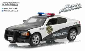 Dodge  - Charger *Rio Police* 2011 black/white - 1:43 - GreenLight - 86237 - gl86237 | The Diecast Company