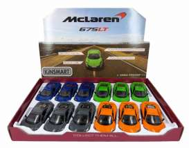Kinsmart - McLaren  - KT5392D~12 : 2016 McLaren 675LT, Assortment tray of 12 with 4 colours in the tray (orange, blue, green, grey).