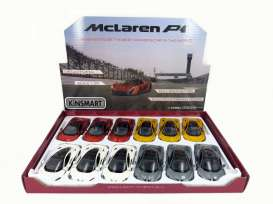 Kinsmart - McLaren  - KT5393D~12 : 2016 McLaren P1, Assortment tray of 12 with 4 colours in the tray (yellow, red, white, grey).