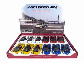 Kinsmart - McLaren  - KT5393DF~12 : 2016 McLaren P1 with Wing & stripes, Assortment tray of 12 with 4 colours in the tray (yellow, red, white, blue).