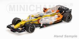 Minichamps - Renault  - mc435080005 : 2008 Renault R28 #5 Fernando Alonso Winner First GP Singapore, yellow/white/orange
