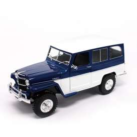 Jeep Willys - blue/white - 1:18 - Lucky Diecast - ldc92858wb | The Diecast Company