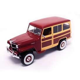 Jeep Willys - burgundy - 1:18 - Lucky Diecast - ldc92858bur | The Diecast Company