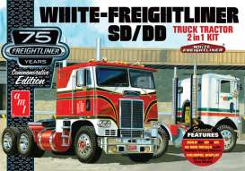 AMT - White  - amts1046 : 1/25 White Freightliner 2-in-1 SC/DD Cabover Tractor 75th Anniversary, plastic modelkit