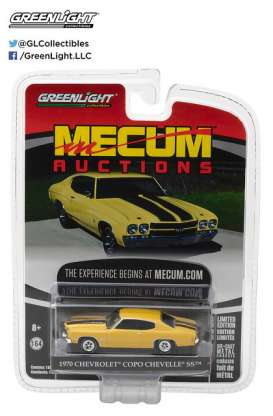 GreenLight - Chevrolet  - gl37110E : 1970 Chevrolet COPO Chevelle *Mecum Auctions Collector Cars Series 1*, COPO Daytona Yellow