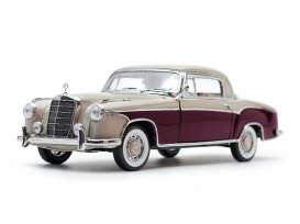 Mercedes Benz  - 220SE coupe 1959 cream/red - 1:18 - SunStar - 3570 - sun3570 | The Diecast Company