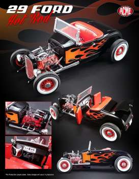 Acme Diecast - Ford  - acme1804001 : 1929 Ford Hot Rod, black on red with flames