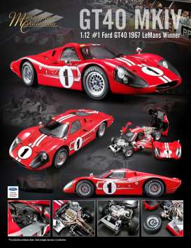 Ford  - GT40 MKIV #1 1967 red/white - 1:12 - Acme Diecast - acmeM1201002 | The Diecast Company