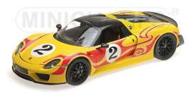 Porsche  - 2015 yellow/red stripes - 1:18 - Minichamps - 110062446 - mc110062446 | The Diecast Company