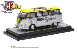 M2 Machines - Volkswagen  - M2-40300moon01B : 1959 Volkswagen Microbus Deluxe U.S.A. Model  *Mooneyes*, silver metallic/black/yellow