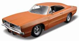 Dodge  - 1969 orange - 1:24 - Maisto - mai312560o | The Diecast Company