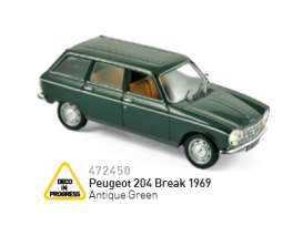 Peugeot  - 204 Break 1967 green - 1:43 - Norev - nor472450 | The Diecast Company