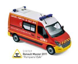 Norev - Renault  - nor518769 : 2011 Renault Master *Pompiers VSAV*, red with yellow bumpers