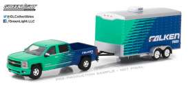GreenLight - Chevrolet  - gl32110B : 2015 Chevrolet Silverado *Falken Tire* and *Falken Tire* Racing Trailer *Hitch & Tow Series 11*