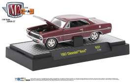 M2 Machines - Chevrolet  - M2-32600-37B : 1967 Chevrolet Nova *Detroit-Muscle Release 37* madeira maroon metallic