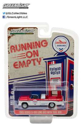 GreenLight - Dodge  - gl41030A : 1965 Dodge D-100 *Chevron* Running on Empty Series 3, blue/red