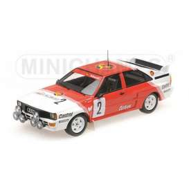 Minichamps - Audi  - mc155851102 : 1985 Audi Quattro A2 Belga Team Waldegard/Thorszelius Winners Boucles De Spa, red/white
