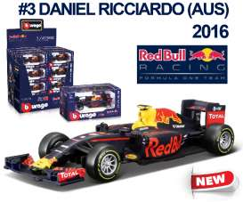 Bburago - Red Bull Racing  Renault - bura38025R : 2016 Red Bull RB12 F1 #3 Daniel Ricciardo, blue/red/yellow