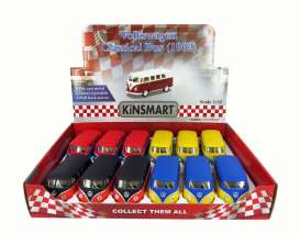 Kinsmart - Volkswagen  - KT5060DM~12 : 1962 Volkswagen Samba Bus in a tray with 12pcs. 3 each of the following colours matt red, matt blue, matt yellow & matt black. With Pull Back Action.