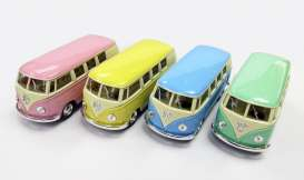 Kinsmart - Volkswagen  - KT5060DY~12 : 1962 Volkswagen Samba Bus in a tray with 12pcs. 3 each of the following colours pink, yellow, light blue, light green. With Pull Back Action.