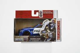 Jada Toys - Transformers  - jada98394 : 1/32 Transformers 5 Barricade Police Car in Nice Transformers 5 Packaging & Robot on the Chassis.