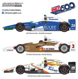 GreenLight - Dallara  - gl10797 : 2017 Indianapolis 500 Podium 3-Car Set: #26 Takuma Sato Andretti Autosport, #3 Helio Castroneves Penske Racing, #19 Ed Jones Dale Coyne Racing