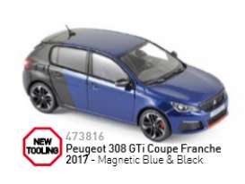 Norev - Peugeot  - nor473816 : 2017 Peugeot 308 GTi Coupe Franche, magnetic blue/black