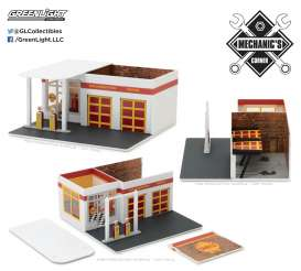 GreenLight - diorama  - gl57021 : 1/64 Vintage Gas Station *Shell Oil* Mechanic