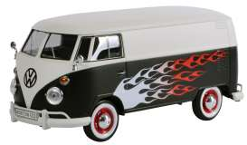 Motor Max - Volkswagen  - mmax79567 : Volkswagen Type 2 (T1) Delivery van 2-tine Hot Rod, matt black/white with flames