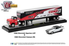M2 Machines - Chevrolet  - m2-36000-25B : 1958 Chevrolet Spartan LCF + 1969 Chevrolet Camaro RS *Auto Haulers series 25* red/white/black