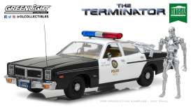 GreenLight - Dodge Figures - gl19042 : 1977 Dodge Monaco Metropolitan Police with 1:18 T-800 Endoskeleton Figure *The Terminator 1984*