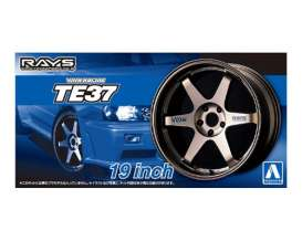 Aoshima - Wheels & tires  - abk15390 : 1/24 Volk Racing TE37 19inch, plastic modelkit