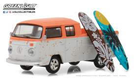 Volkswagen  - T2 crew cab pick-up orange/white - 1:64 - GreenLight - gl97030F | The Diecast Company