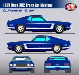 Acme Diecast - Ford  - acme1801819B : 1969 Boss 302 Trans AM Mustang, blue