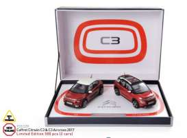 Norev - Citroen  - nor155329 : 2017 Coffret Citroën C3 & C3 Aircross, red