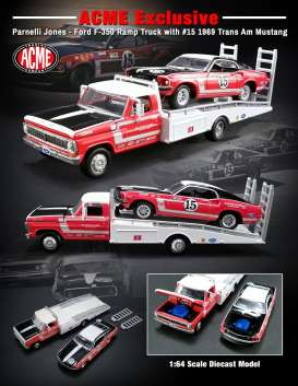 Acme Diecast - Ford Mustang - acme51149 : 1969 Parnelli Jones Trans Am Mustang #15 on a  Ford F-350 Ramp Truck.
