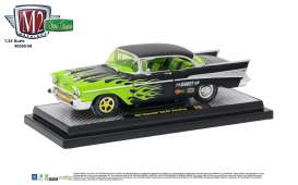 Chevrolet  - 1957 black/green flames - 1:24 - M2 Machines - M2-40300-59B | The Diecast Company