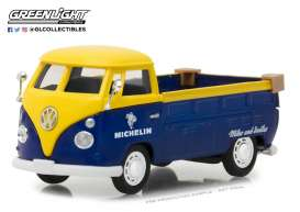 Volkswagen  - T2 pick-up yellow/blue - 1:43 - GreenLight - 87010E - gl87010E | The Diecast Company