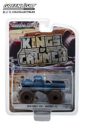 Ford  - F-250 Monster Truck 1974 blue - 1:64 - GreenLight - 49010A - gl49010A | The Diecast Company