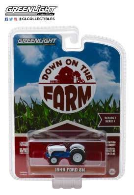 Ford  - 8N Tractor 1949 white/blue - 1:64 - GreenLight - 48010B - gl48010B | The Diecast Company