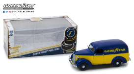 Chevrolet  - Panel Truck 1939 blue/yellow - 1:24 - GreenLight - 18243 - gl18243 | The Diecast Company
